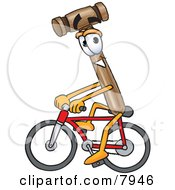 Clipart Picture Of A Mallet Mascot Cartoon Character Riding A Bicycle by Toons4Biz