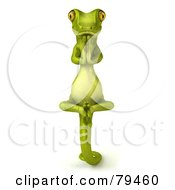 Royalty Free RF Clipart Illustration Of A 3d Pico Gecko Character In Meditation by Julos