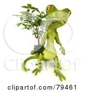 Royalty Free RF Clipart Illustration Of A 3d Pico Gecko Character Holding A Ficus by Julos