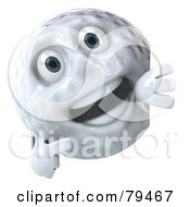 Royalty Free RF Clipart Illustration Of A 3d Golfball Character Pointing At A Blank Sign Board by Julos