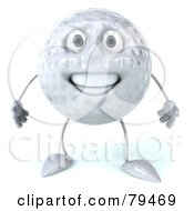 Royalty Free RF Clipart Illustration Of A 3d Golf Ball Character Facing Front by Julos
