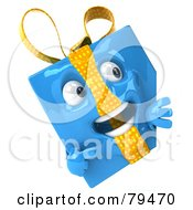 Royalty Free RF Clipart Illustration Of A 3d Blue Present Character Pointing To A Blank Sign Board by Julos