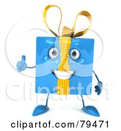 Royalty Free RF Clipart Illustration Of A 3d Blue Present Character Standing And Giving The Thumbs Up by Julos