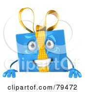 Royalty Free RF Clipart Illustration Of A 3d Blue Present Character Holding A Blank Sign Board by Julos