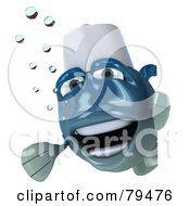 Royalty Free RF Clipart Illustration Of A 3d Blue Chef Fish Character Looking Around A Blank Sign