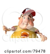 3d Chubby Burger Man Holding His Thumb Down Over A Blank Sign
