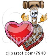 Clipart Picture Of A Mallet Mascot Cartoon Character With An Open Box Of Valentines Day Chocolate Candies