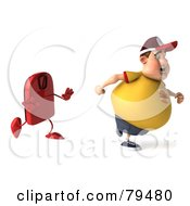 3d Chubby Burger Man Running From A Red Scale