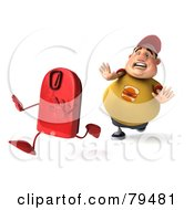 Royalty Free RF Clipart Illustration Of A 3d Chubby Burger Man Chasing A Red Scale by Julos