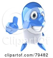 Royalty Free RF Clipart Illustration Of A 3d Blue Pill Character Holding A Thumb Up by Julos