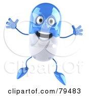 3d Blue Pill Character Jumping