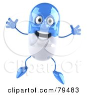 Royalty Free RF Clipart Illustration Of A 3d Blue Pill Character Jumping