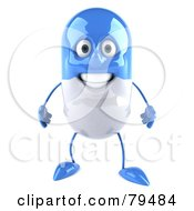 Royalty Free RF Clipart Illustration Of A 3d Blue Pill Character Facing Front