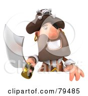 Royalty Free RF Clipart Illustration Of A 3d Pirate Character Holding His Sword Over A Blank Sign
