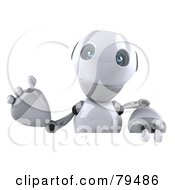 Royalty Free RF Clipart Illustration Of A 3d Robot Boy Character Waving Over A Blank Sign by Julos