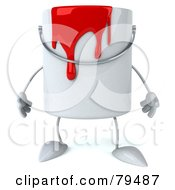 Royalty Free RF Clipart Illustration Of A 3d Dripping Paint Can Character Facing Front