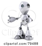 Royalty Free RF Clipart Illustration Of A 3d Robot Boy Character Gesturing And Facing Left