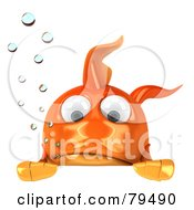 Royalty Free RF Clipart Illustration Of A 3d Goldfish Character With Bubbles Pouting Over A Blank Sign by Julos