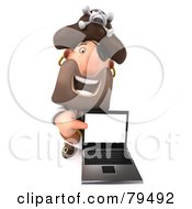 Royalty Free RF Clipart Illustration Of A 3d Pirate Character Holding And Pointing To A Laptop by Julos
