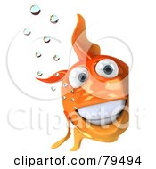 Royalty Free RF Clipart Illustration Of A 3d Goldfish Character With Bubbles Smiling And Looking Around A Sign by Julos