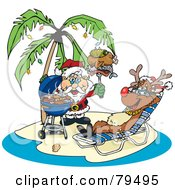 Royalty Free RF Clipart Illustration Of Santa Grilling Food For Rudolph On A Tropical Christmas Island by Dennis Holmes Designs