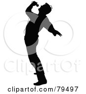 Royalty Free RF Clipart Illustration Of A Silhouetted Male Singer Arching Backwards