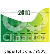 Royalty Free RF Clipart Illustration Of A Green And White 12 Month Year 2010 Wave Calendar by leonid