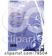 Royalty Free RF Clipart Illustration Of A Purple 12 Month Year 2010 Floral Plant Calendar by leonid
