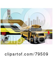 Royalty Free RF Clipart Illustration Of A Modern Back To School Background With Binary Code Street Lights Buildings And A School Bus