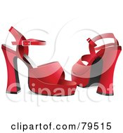 Royalty Free RF Clipart Illustration Of A Pair Of Red Chunky High Heel Shoes
