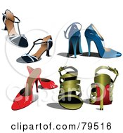 Royalty Free RF Clipart Illustration Of A Digital Collage Of Pairs Of Black Blue Red And Gold High Heeled Shoes by leonid