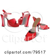 Royalty Free RF Clipart Illustration Of A Digital Collage Of Two Pairs Of Red Womens High Heel Shoes