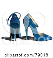 Royalty Free RF Clipart Illustration Of A Pair Of Blue High Heel Shoes
