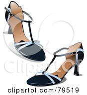 Royalty Free RF Clipart Illustration Of A Pair Of Black And Silver High Heel Shoes by leonid