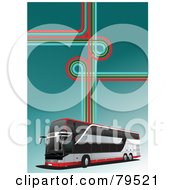 Royalty Free RF Clipart Illustration Of A Modern City Bus Background With Retro Lines