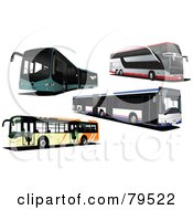 Royalty Free RF Clipart Illustration Of A Digital Collage Of Four Modern City Buses by leonid