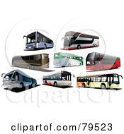 Royalty Free RF Clipart Illustration Of A Digital Collage Of Eight Modern City Buses by leonid