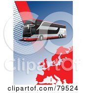 Royalty Free RF Clipart Illustration Of A Modern City Bus Background With Halftone Dots And A Red Europe Map