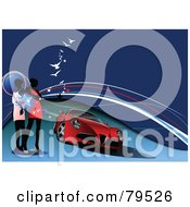 Royalty Free RF Clipart Illustration Of Faceless Women Standing By A Red Sports Car Under Lines And Gulls On Blue