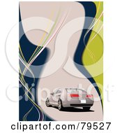Royalty Free RF Clipart Illustration Of A Beige Car On A Matching Beige Blue And Yellow Background
