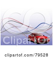 Royalty Free RF Clipart Illustration Of A Red Car On A Blue And White Halftone And Wave Background