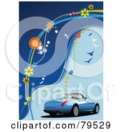 Royalty Free RF Clipart Illustration Of A Blue Convertible Car On A Blue Floral Background