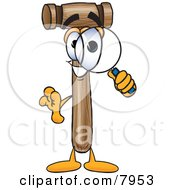 Clipart Picture Of A Mallet Mascot Cartoon Character Looking Through A Magnifying Glass by Toons4Biz