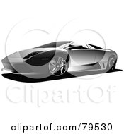 Royalty Free RF Clipart Illustration Of A Silver Sports Car Resembling A Lambo by leonid