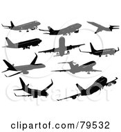 Royalty Free RF Clipart Illustration Of A Digital Collage Of Black Flying Commercial Airliners by leonid