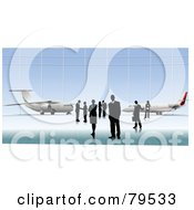 Royalty Free RF Clipart Illustration Of Business People Standing In Front Of Planes by leonid