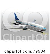 Royalty Free RF Clipart Illustration Of A Large Commercial Aircraft On A Gray Background