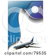 Royalty Free RF Clip Art Illustration Of An Airplane And Place Setting On A Blue And White Airliner Menu Template by leonid