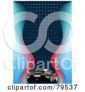 Royalty Free RF Clipart Illustration Of A Black Car On A Blue Background With Red And Blue Waves Dots And A Space For Text