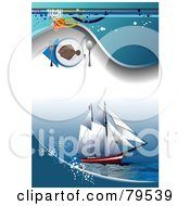 Royalty Free RF Clipart Illustration Of A Red Yacht Ship Background With Blue Waves Grunge And A Seafood Menu Icon